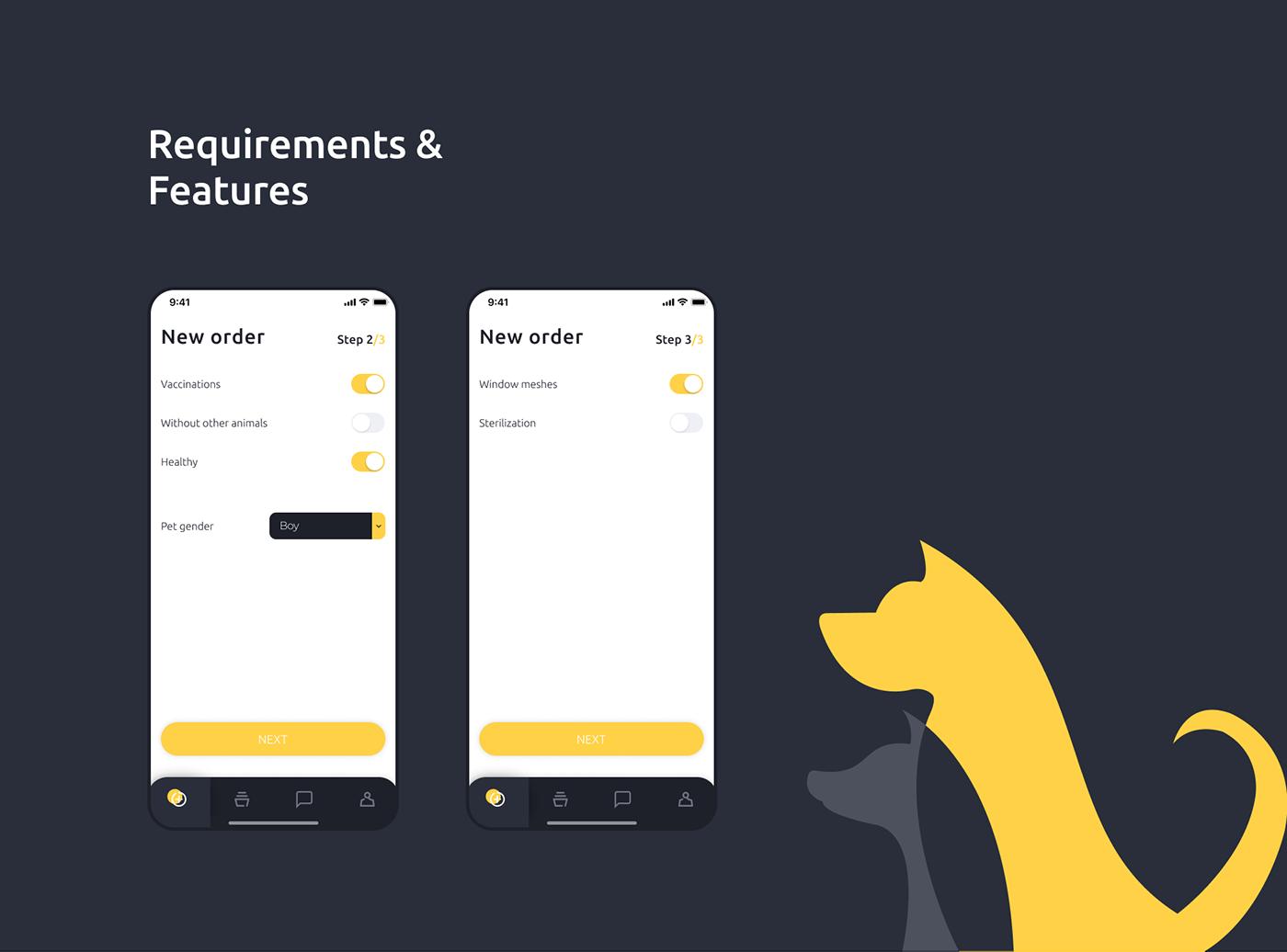 animal Pet pet sitter app ios Minimalism ux UI Interface interaction