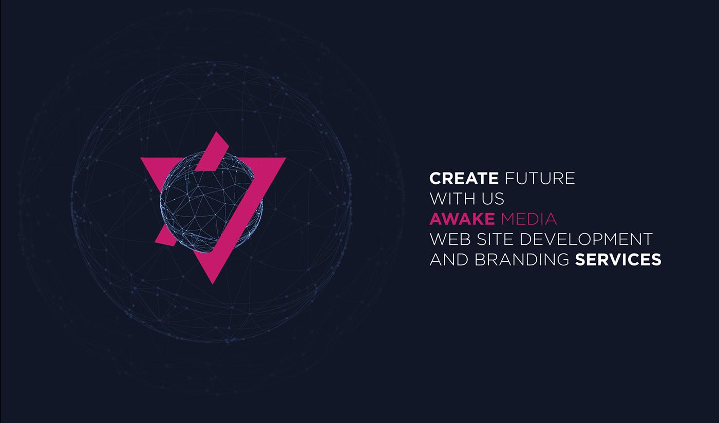 awake media logo branding  awake