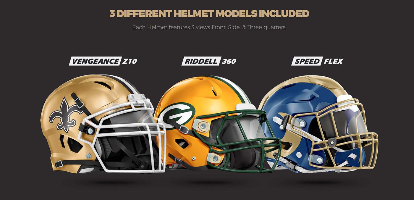 football helmet psd mockup for schutt riddell on behance