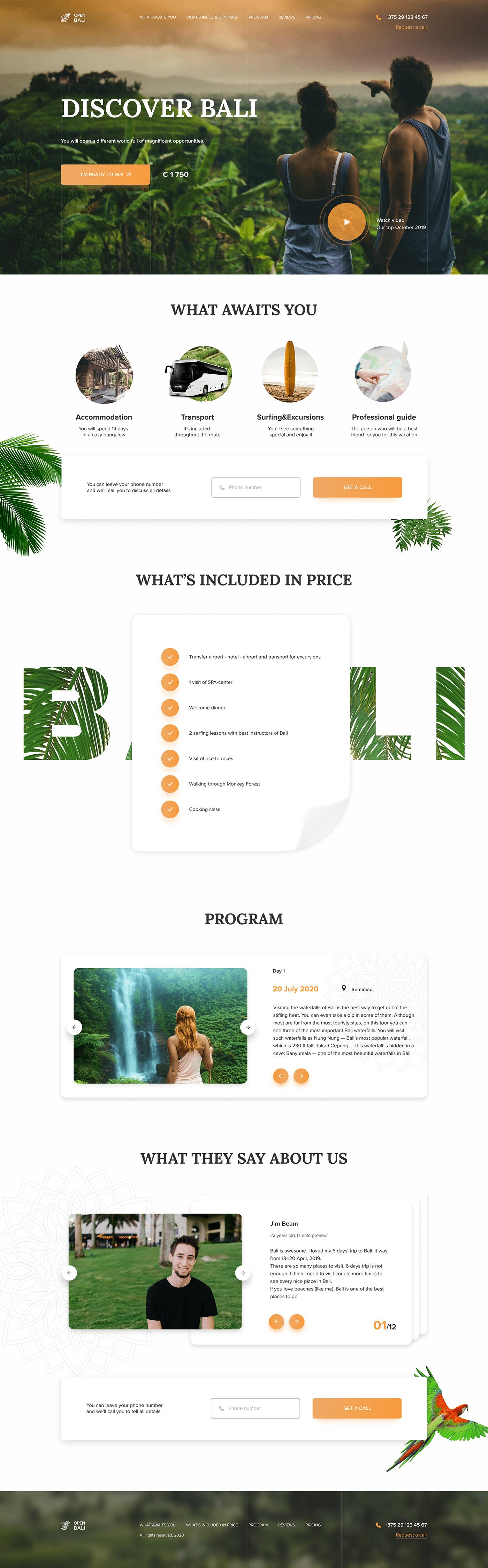 bali concept discover landing landing page travel agency Figma Web Design