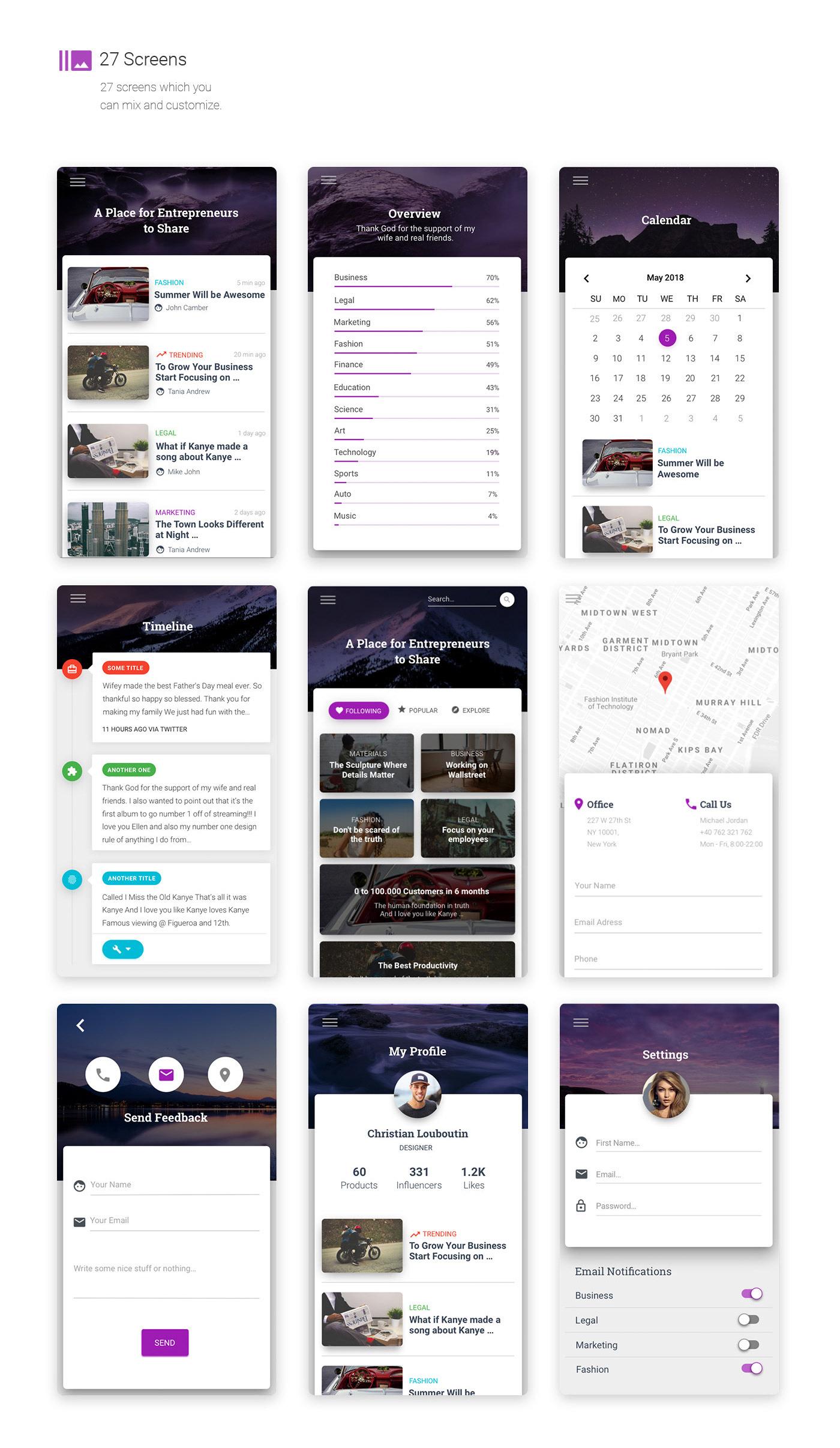 material design Mobile app mobile UI/UX sketch free kit