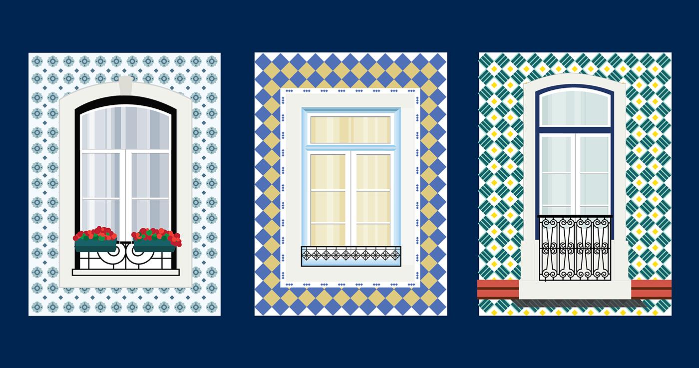 ilustration,Lisbon,University,postcards,Advertising ,graphic design