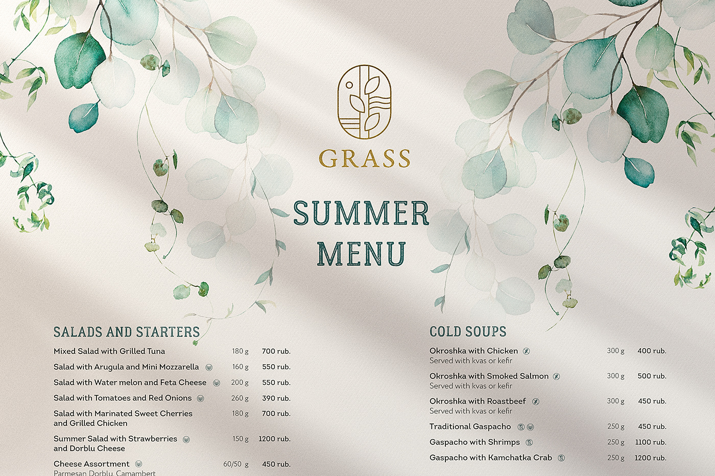 branding  logo menu restaurant Summer Menu