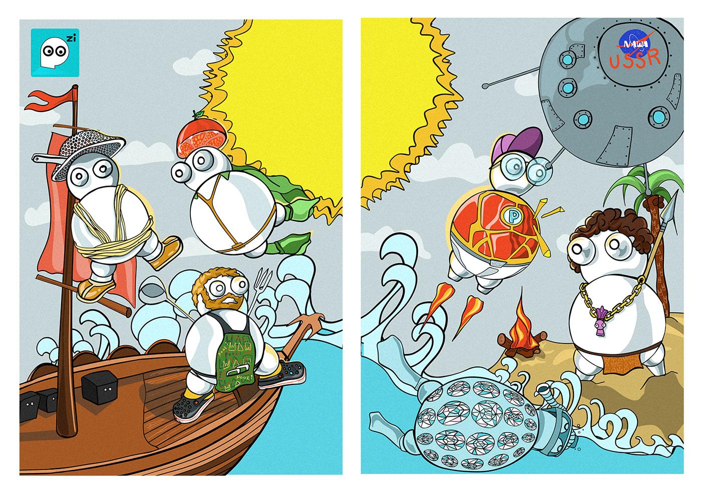animation  bubbles Poozi woodigram beach cartoon satellite sea ship Sun