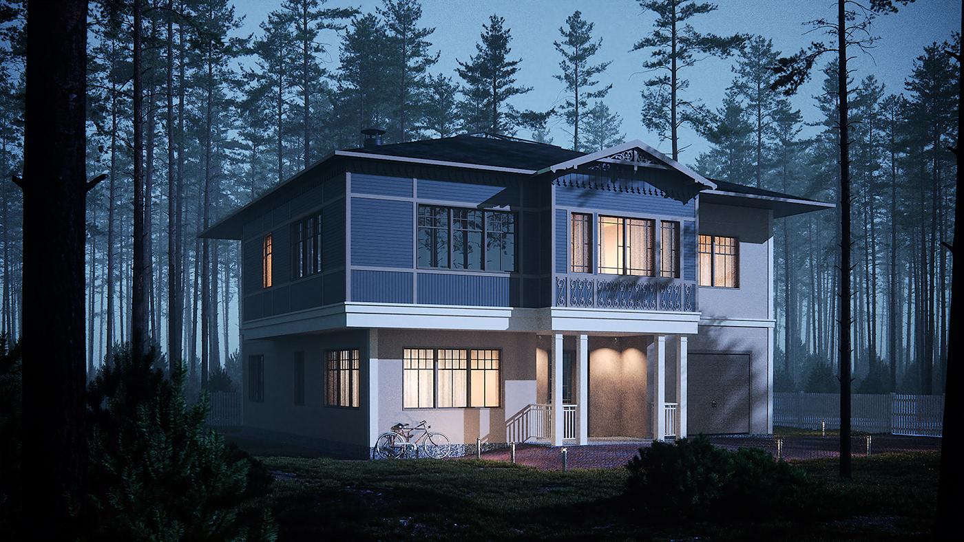 exterior design rendering pines forest foliage birds Smallhouse