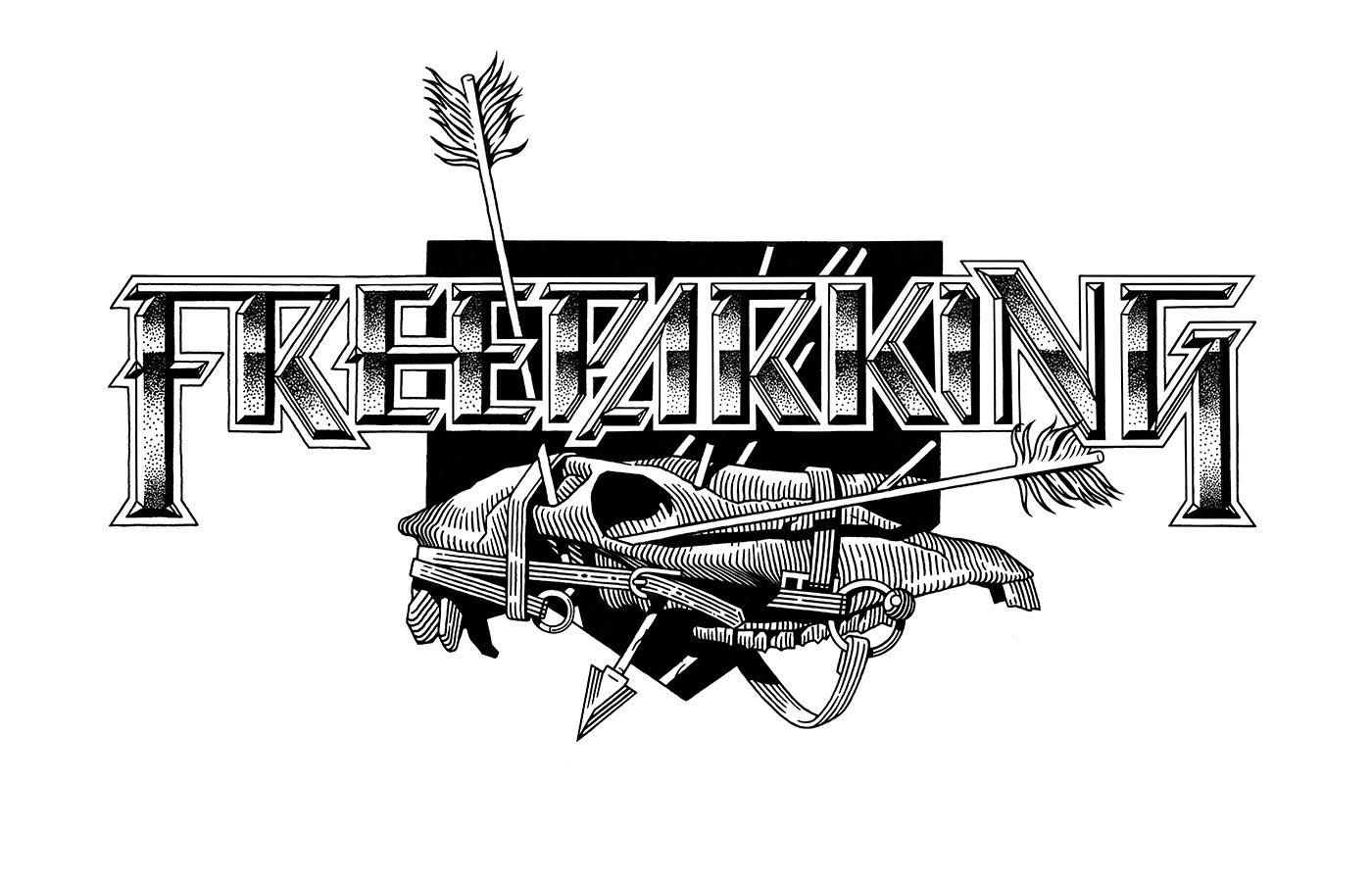 ILLUSTRATION  typography   linework dot work skull print t-shirt