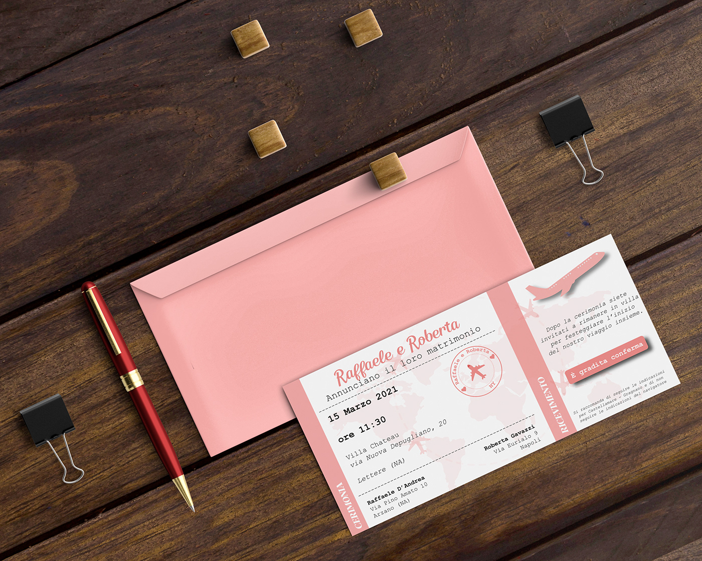 card envelope Invitation plane rose Travel wedding