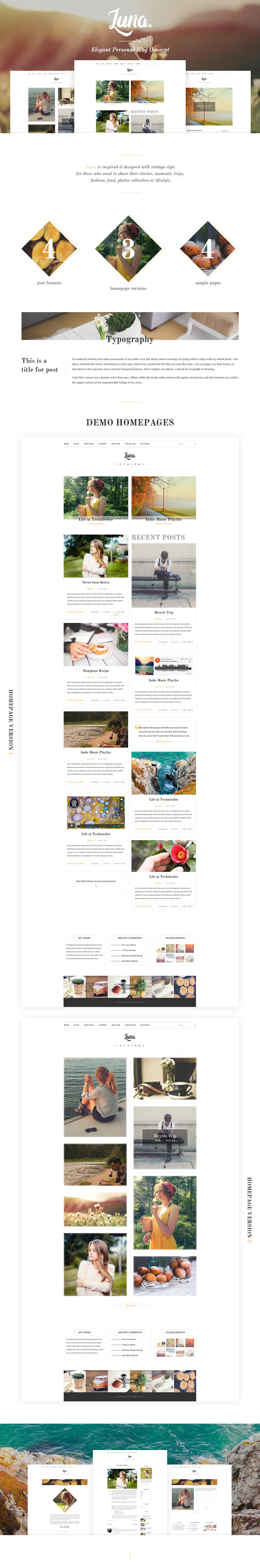 Blog elegant personal photoshop concept UI ux