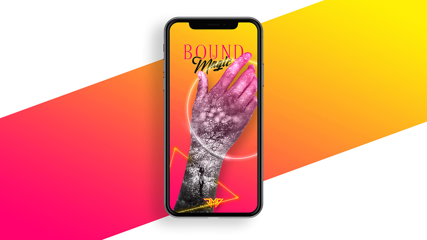 Synthwave vaporwave gradient hand wallpaper mobile Bound by Magic Magic   Mockup artwork