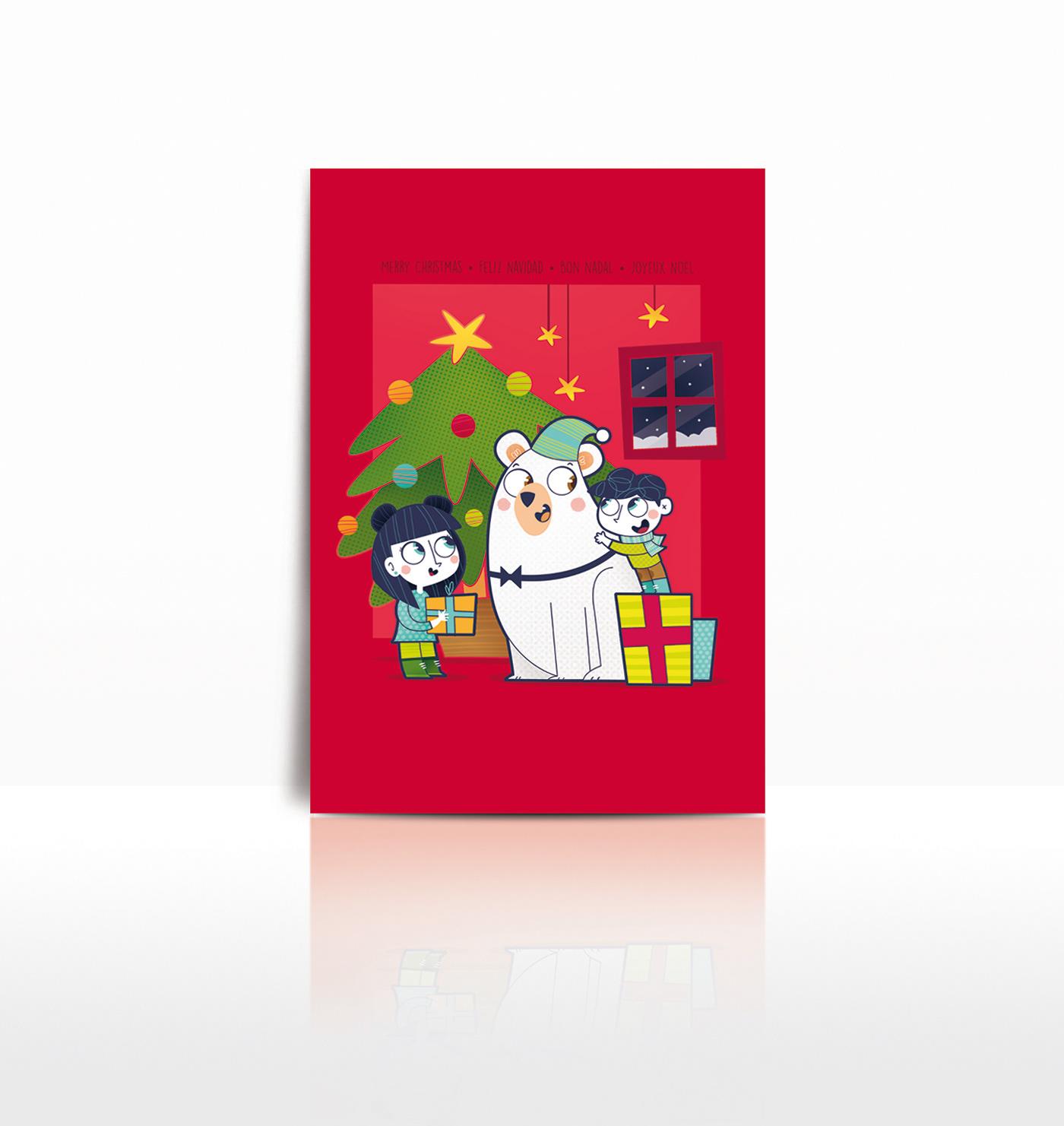 ilustracion ilustracioninfantil navidad oso Abeto niños regalos Christmas