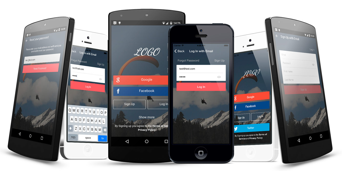 Mobile Themes mobile components login signup signin Forgot Passwor Mobile Templates ionic themes Ionic ionic framework