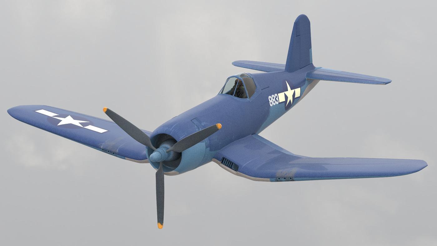 3D 3d modeling Aircraft airplane model navy plane Render World war 2 ww2