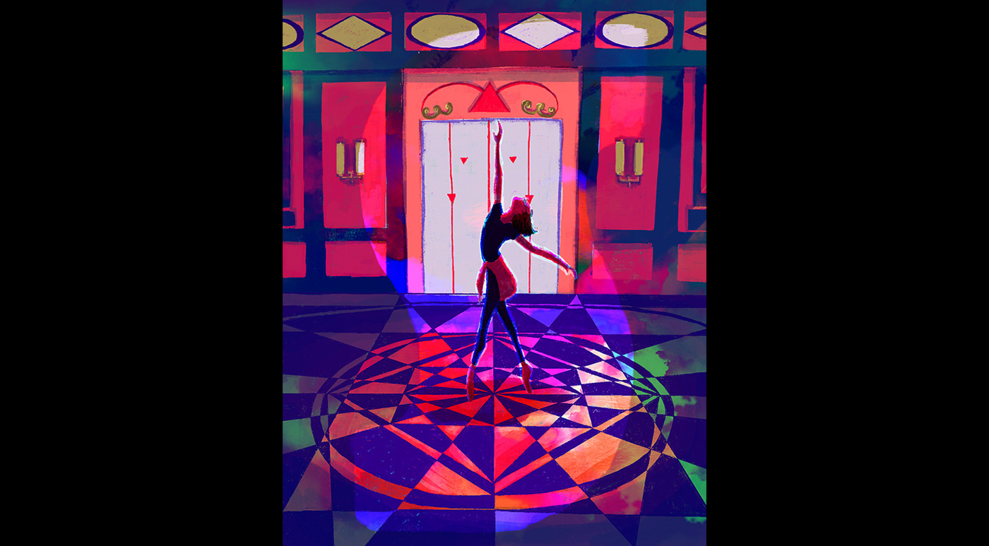 A girl is dancing in the hallway of a building with geometrical patterned floor.