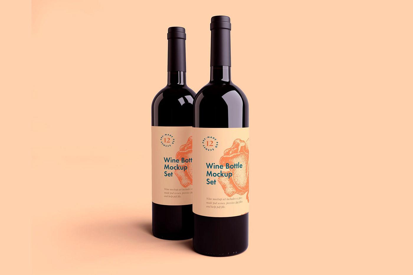Mockup free mockup  branding  Packaging wine Wine Bottle psd package