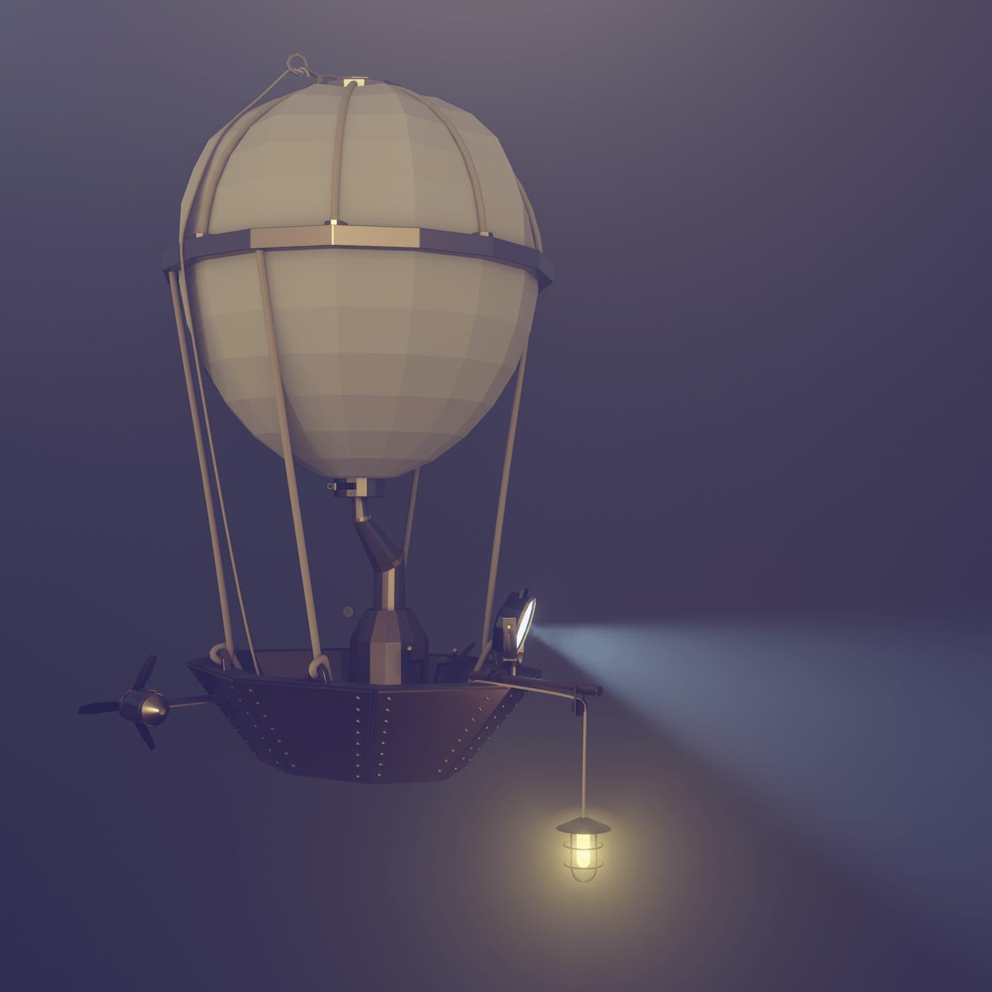 STEAMPUNK balloon Diorama 3D environment fantasy Vehicle