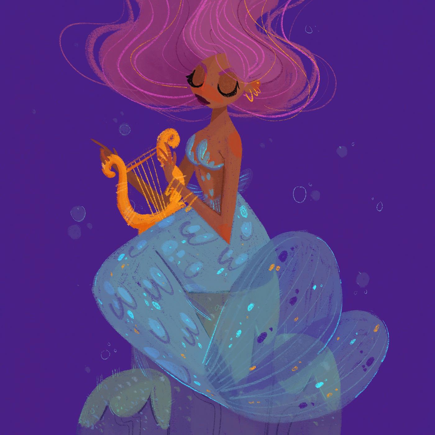 mermay mermaid sea fish Procreate girl