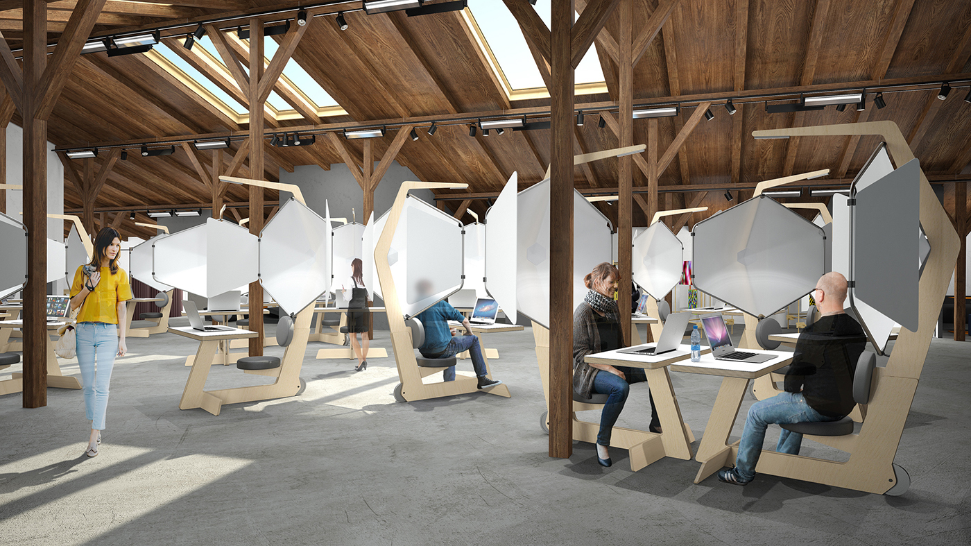 Coworking Space Interior With Individual Workstations On