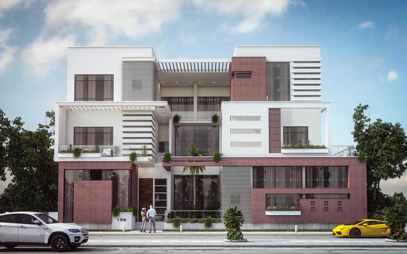 Modern Villa Elevation Design Kuwait On Behance