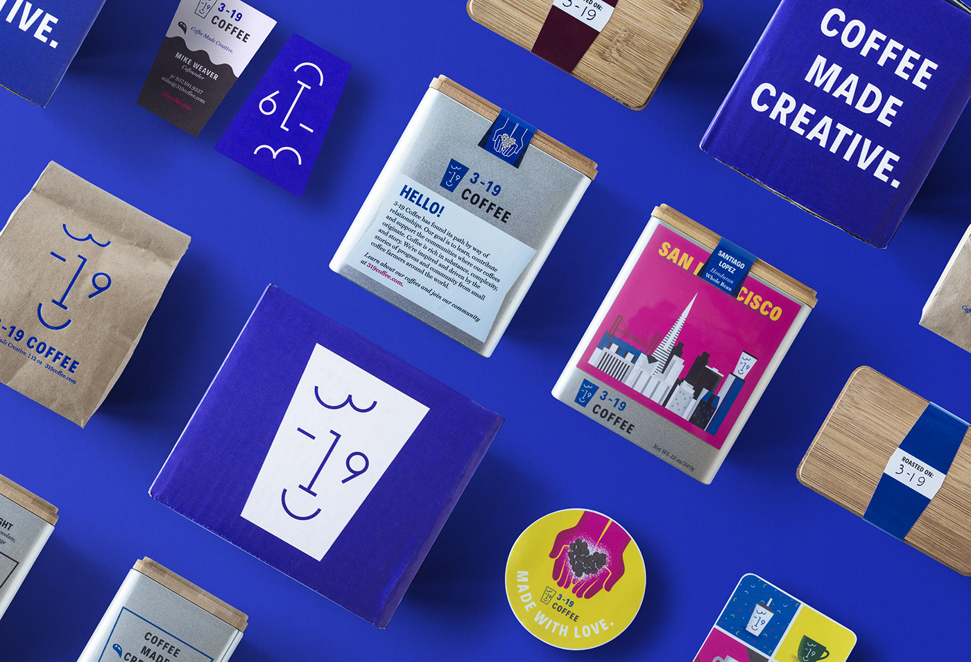 branding  Coffee logo Packaging identity blue art creative