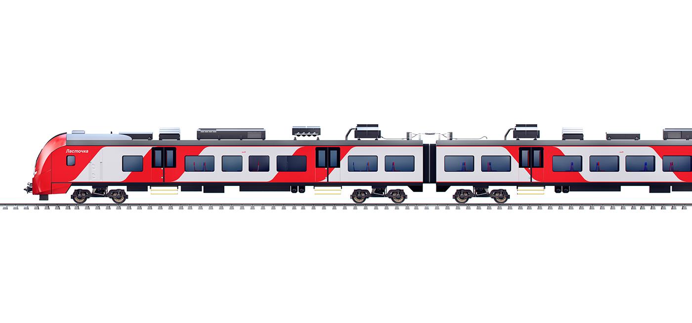 Moscow Central Circle мцк ласточка gif CG Render lastochka train animation  map
