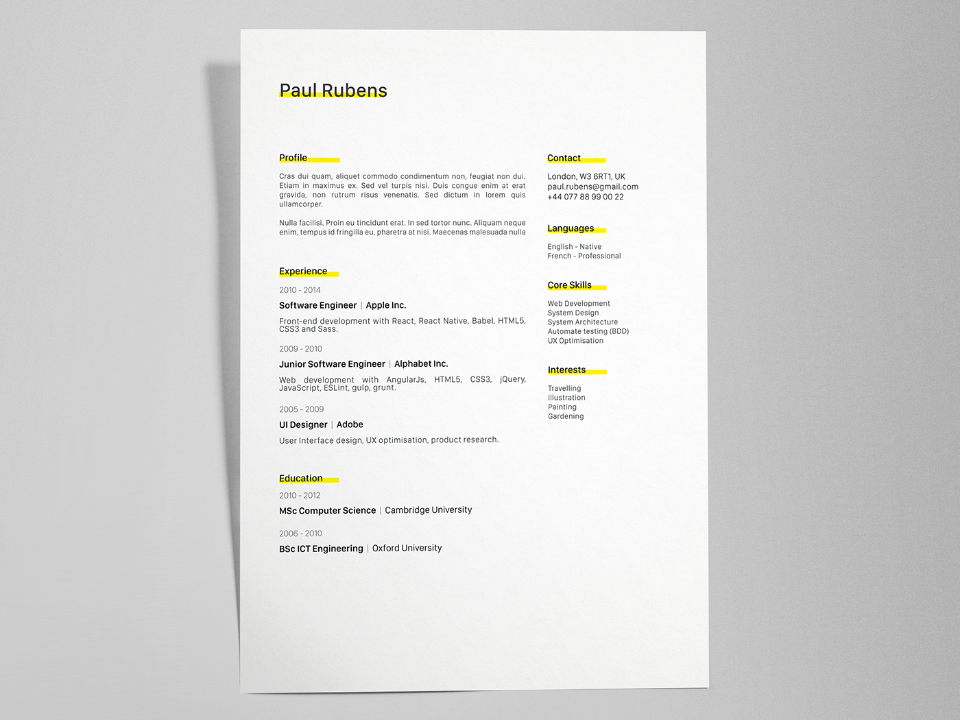 Paul Rubens Free Creative Resumecv Template Ai On Behance