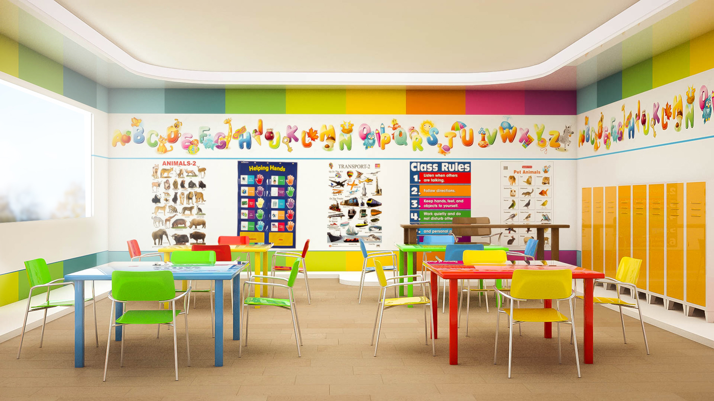 Wall Design For Kindergarten Classroom ~ Kindergarten interior design on behance