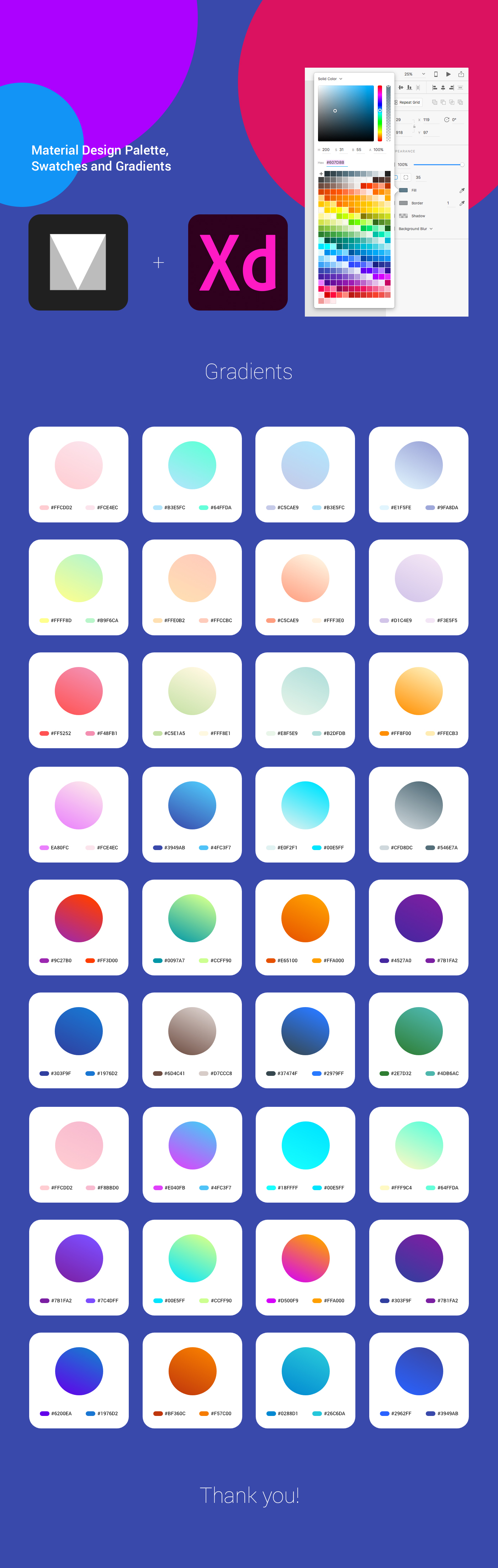 material design cards ux UI palette swatches gradients adobexd MadeWithAdobeXd
