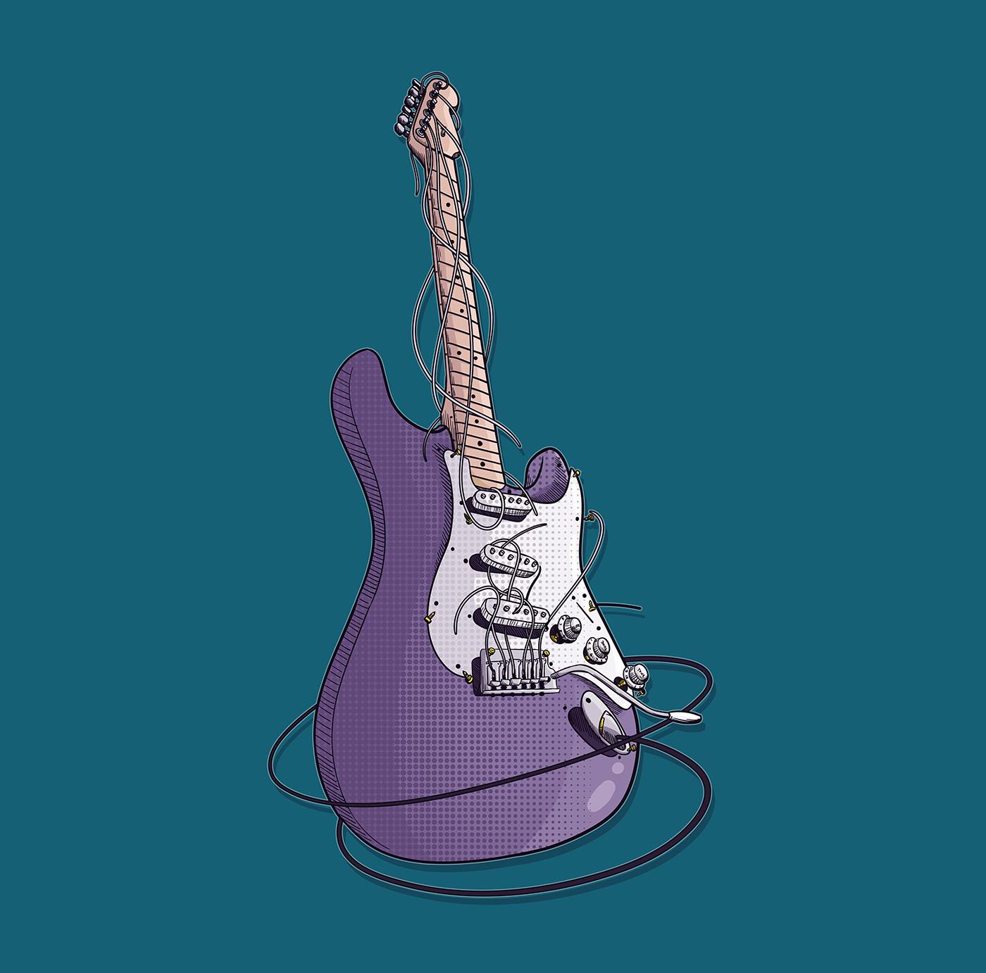 Electric Guitar POP Art Illustration (Fender AM STD) : Illustration