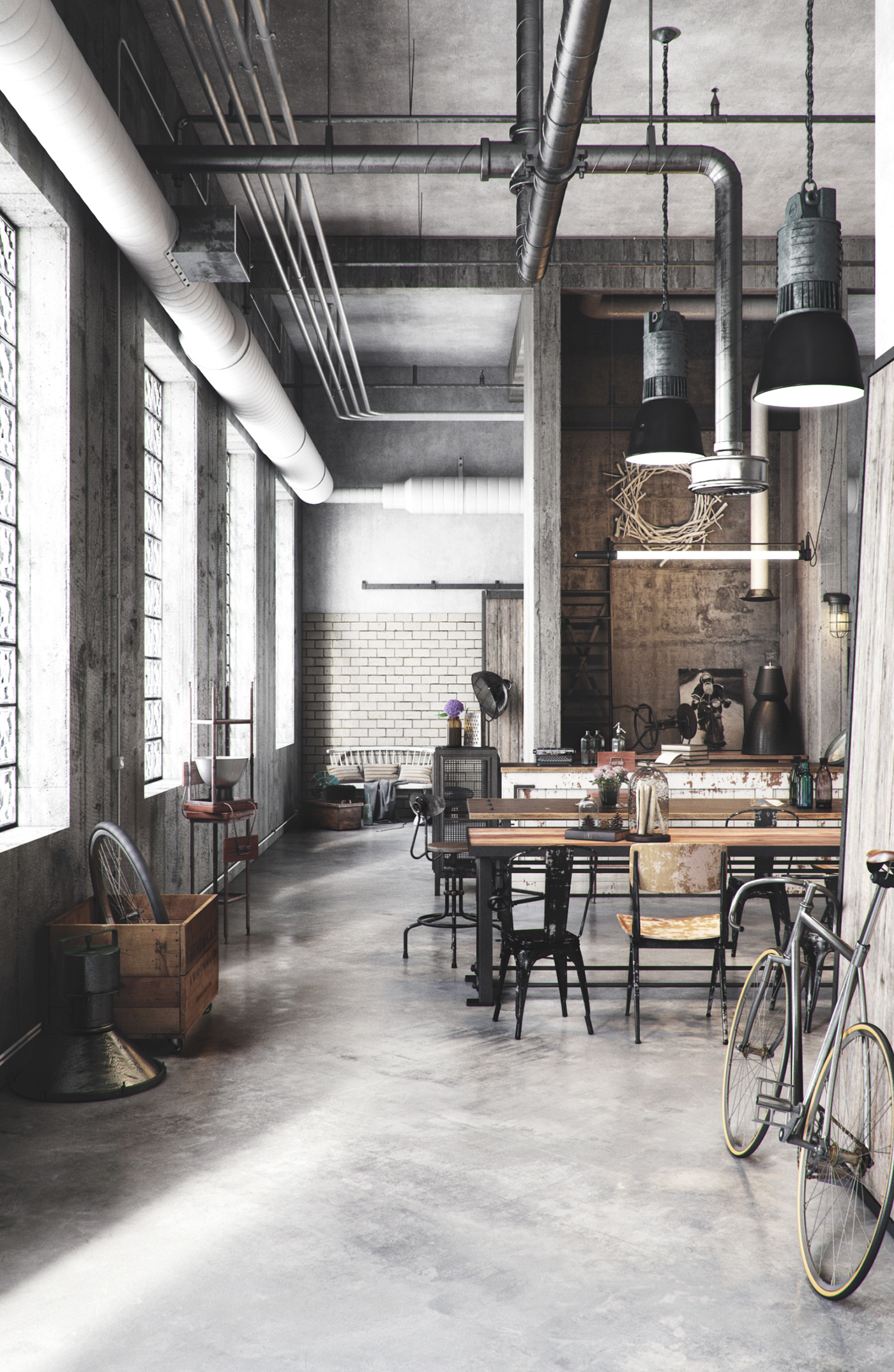 Craft industry rendering on behance - Vintage industrial interior design ...