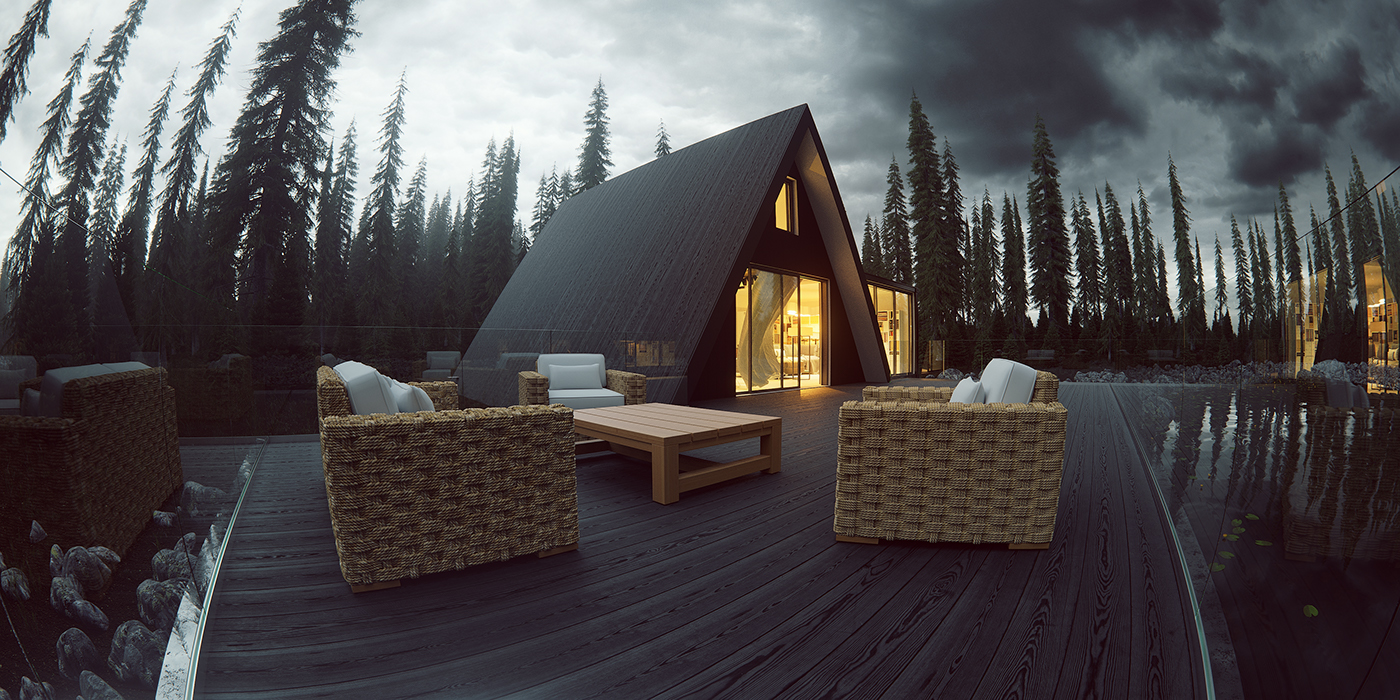 norway Lake house exterior design 3d Visualizations 3ds max corona render  BlackBell