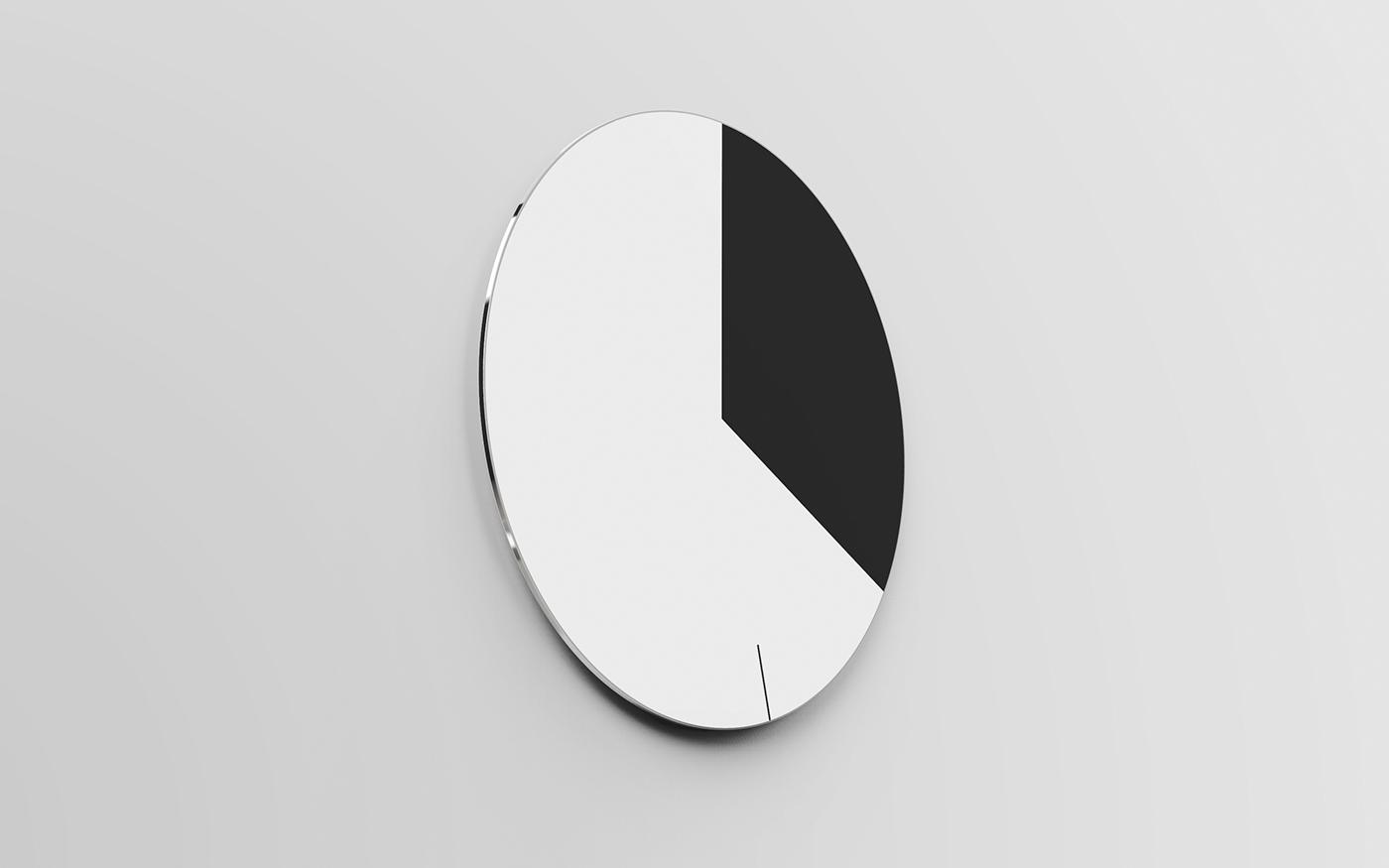 Adobe Portfolio clock circadian slice pie face watch e-ink e-paper kindle screen digital aluminum steel wall clock analog