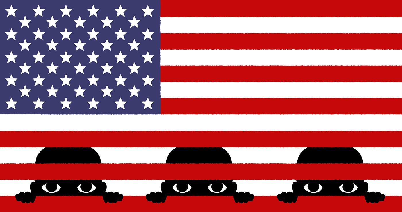 usa flag migrants america child children prison migration Trump