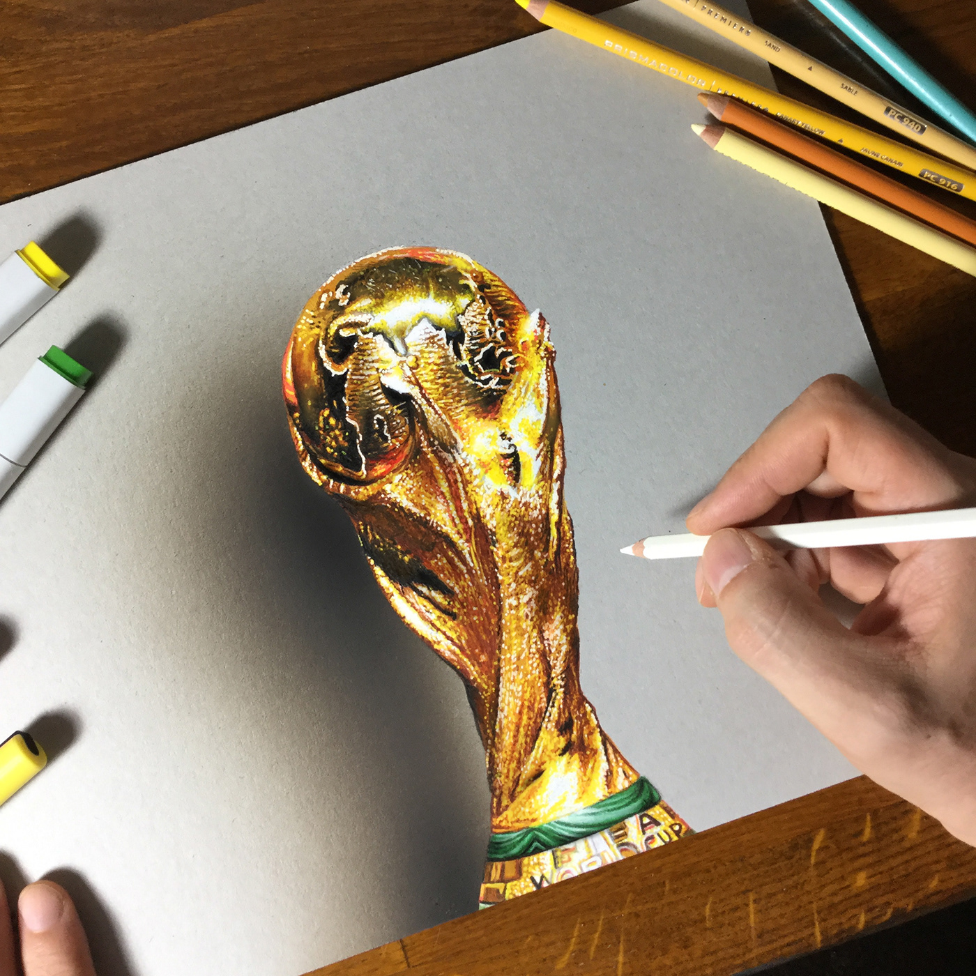 Waiting for the final match france croatia i decided to re create one of my famous drawing the fifa world cup trophy which is the best