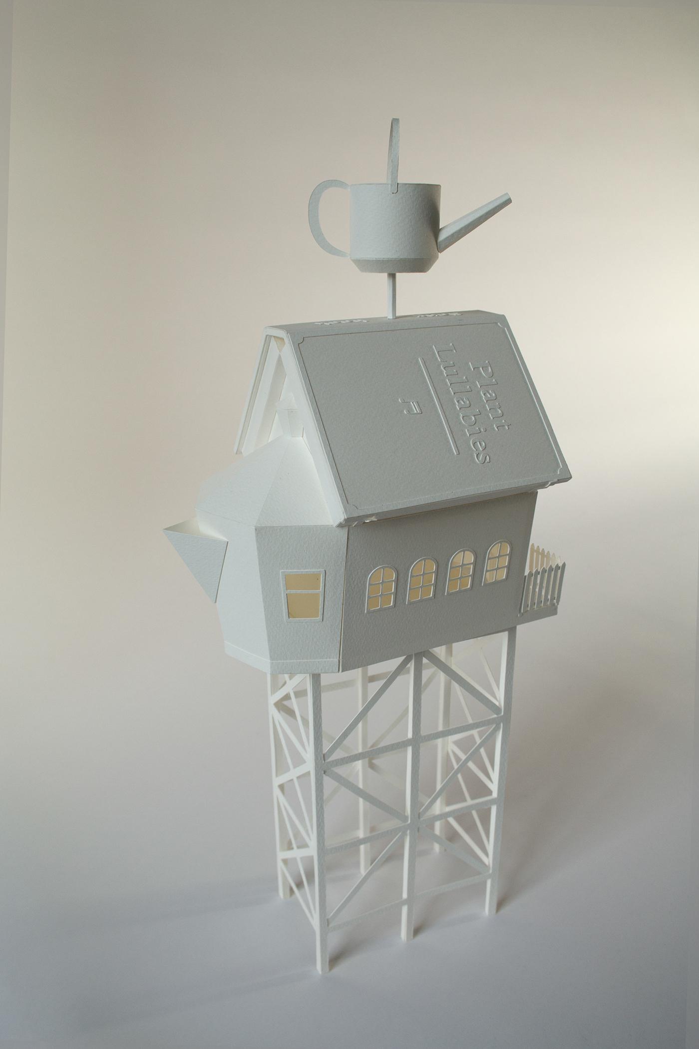 paper papercraft models paper art craft plants houses architecture Miniature set design
