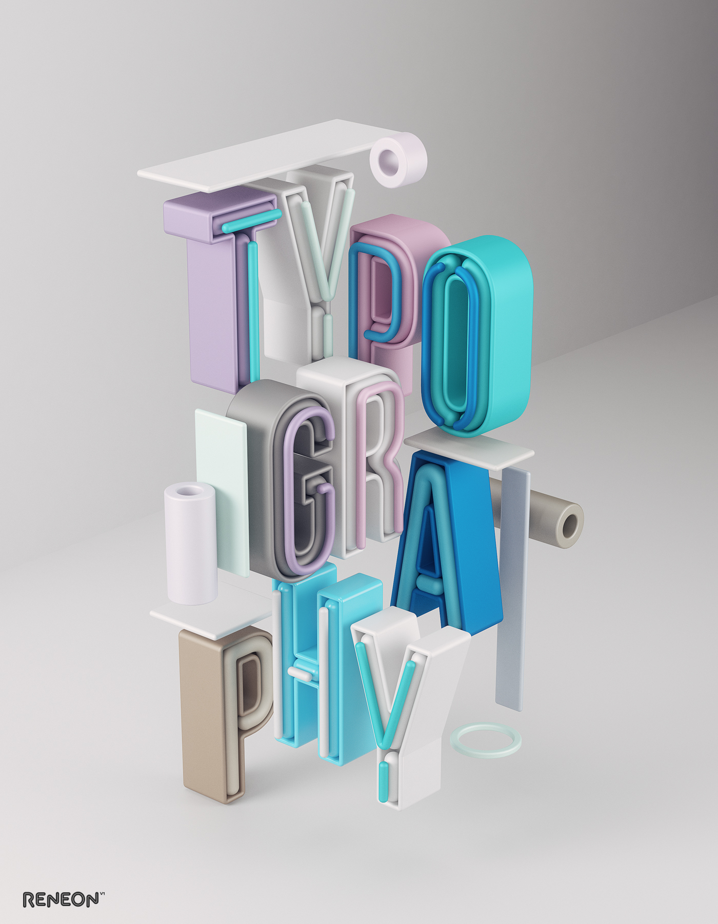 3D modern experimental typography   graphicdesign neon signs vibrant ILLUSTRATION  cinema4d