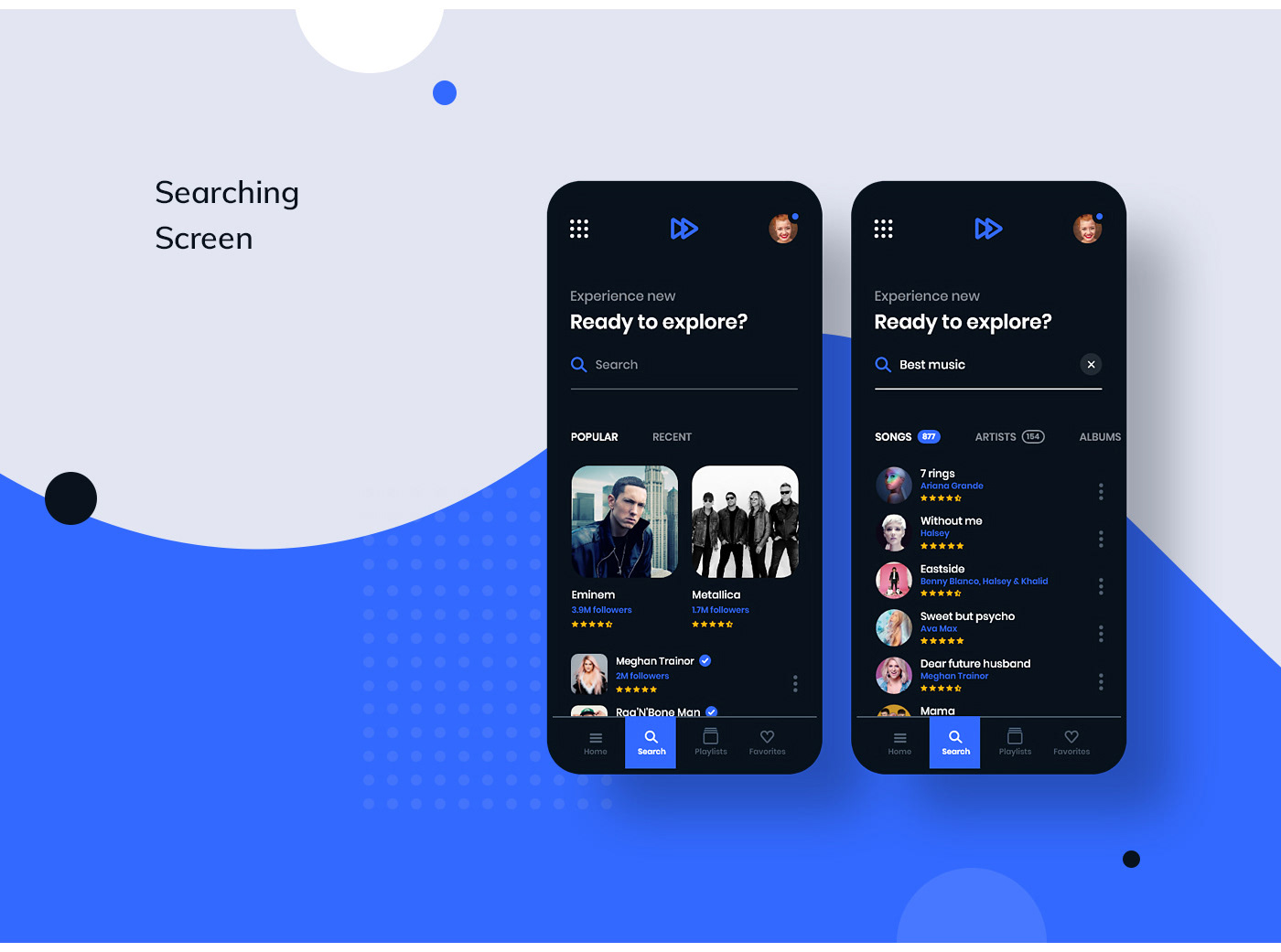 music player song spotify Platform searching artist application UI ux