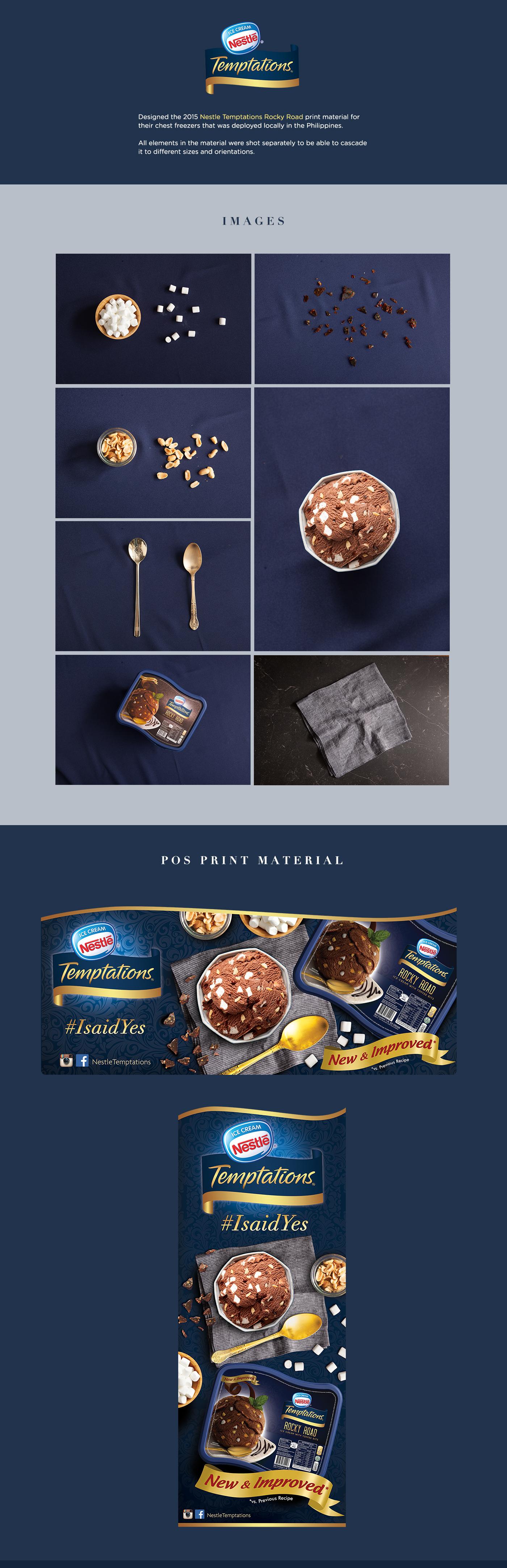nestle Nestle Temptations Nestlé ice cream ice cream pos print composition print material ad rocky road tub