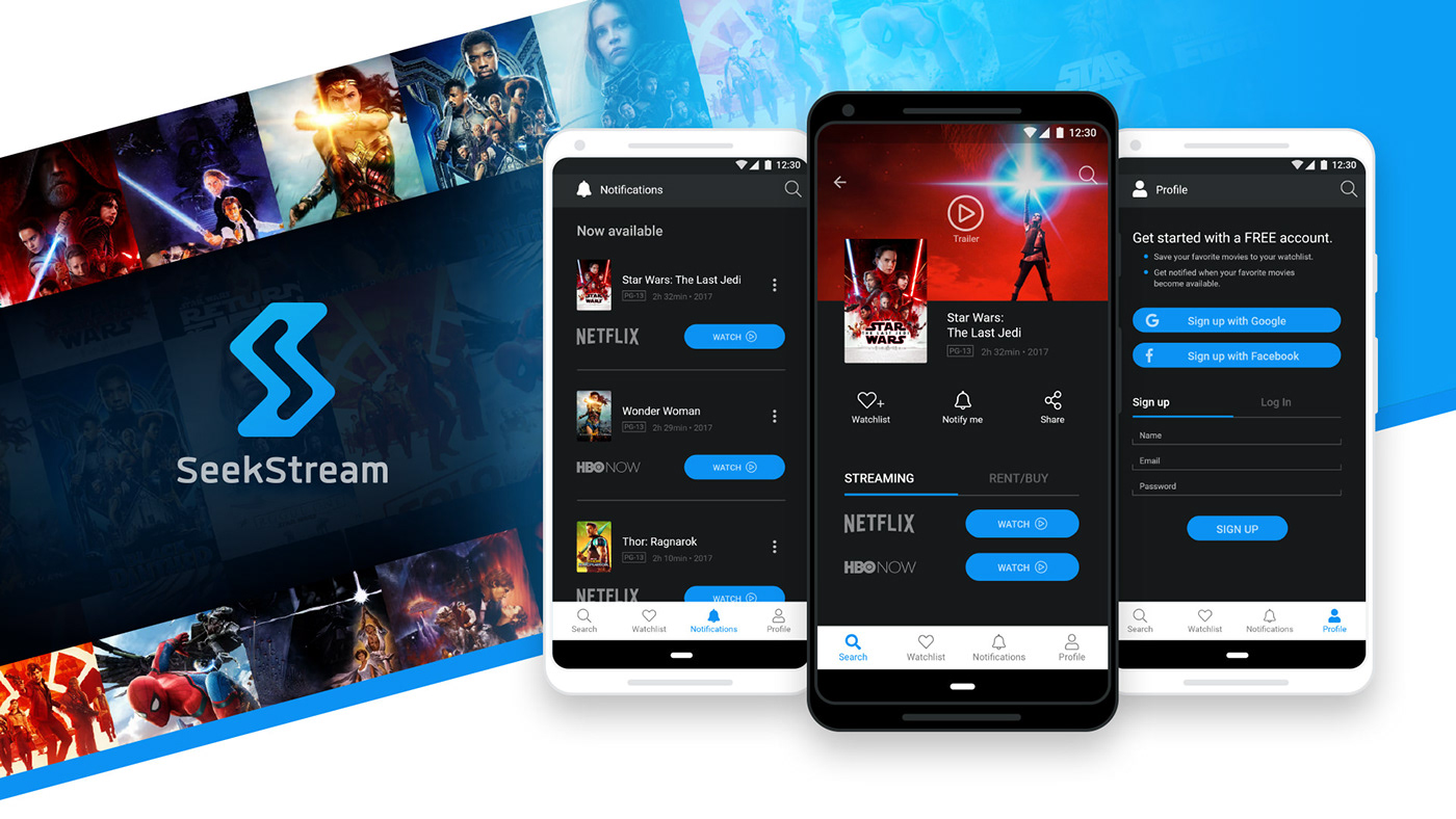 Streaming Movies mobile app ios android research strategy prototype Interaction design