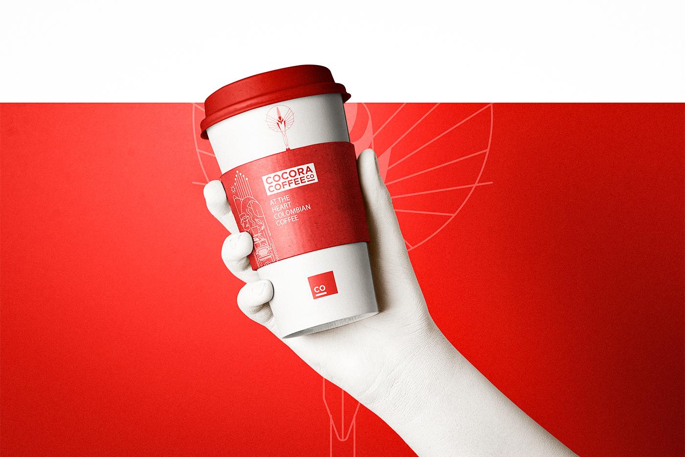 logo brand Coffee bag color paper 3D branding  ILLUSTRATION  box