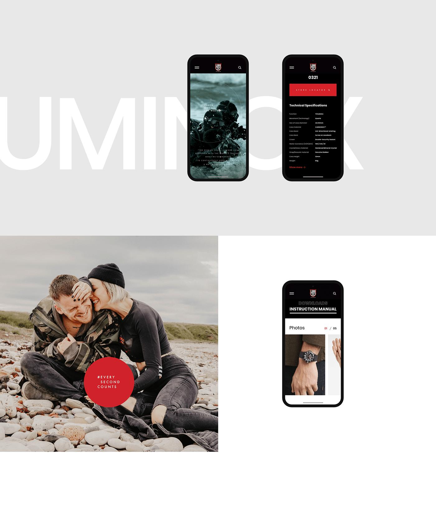 UI ui ux Web Design  luminox modern web interactive clean mobile catalog typography