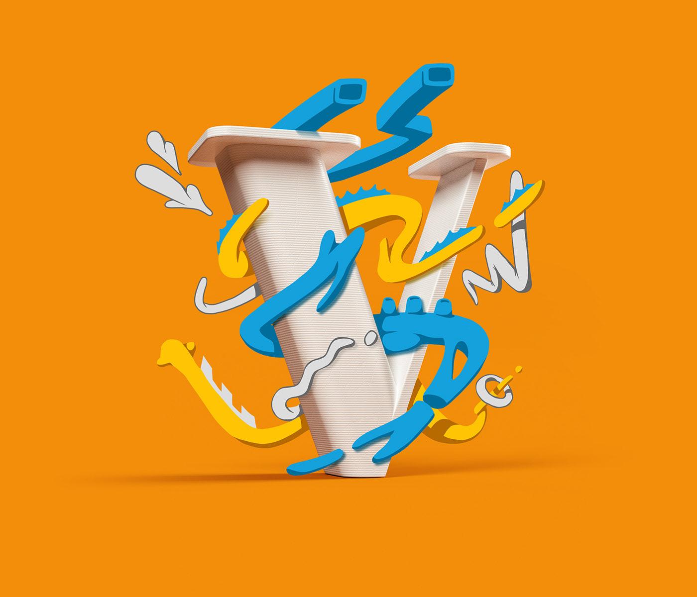 alphabet 3d-lettering mixed media cartoon comic 3D typography 3D 2D Letter 3D lettering cel shading