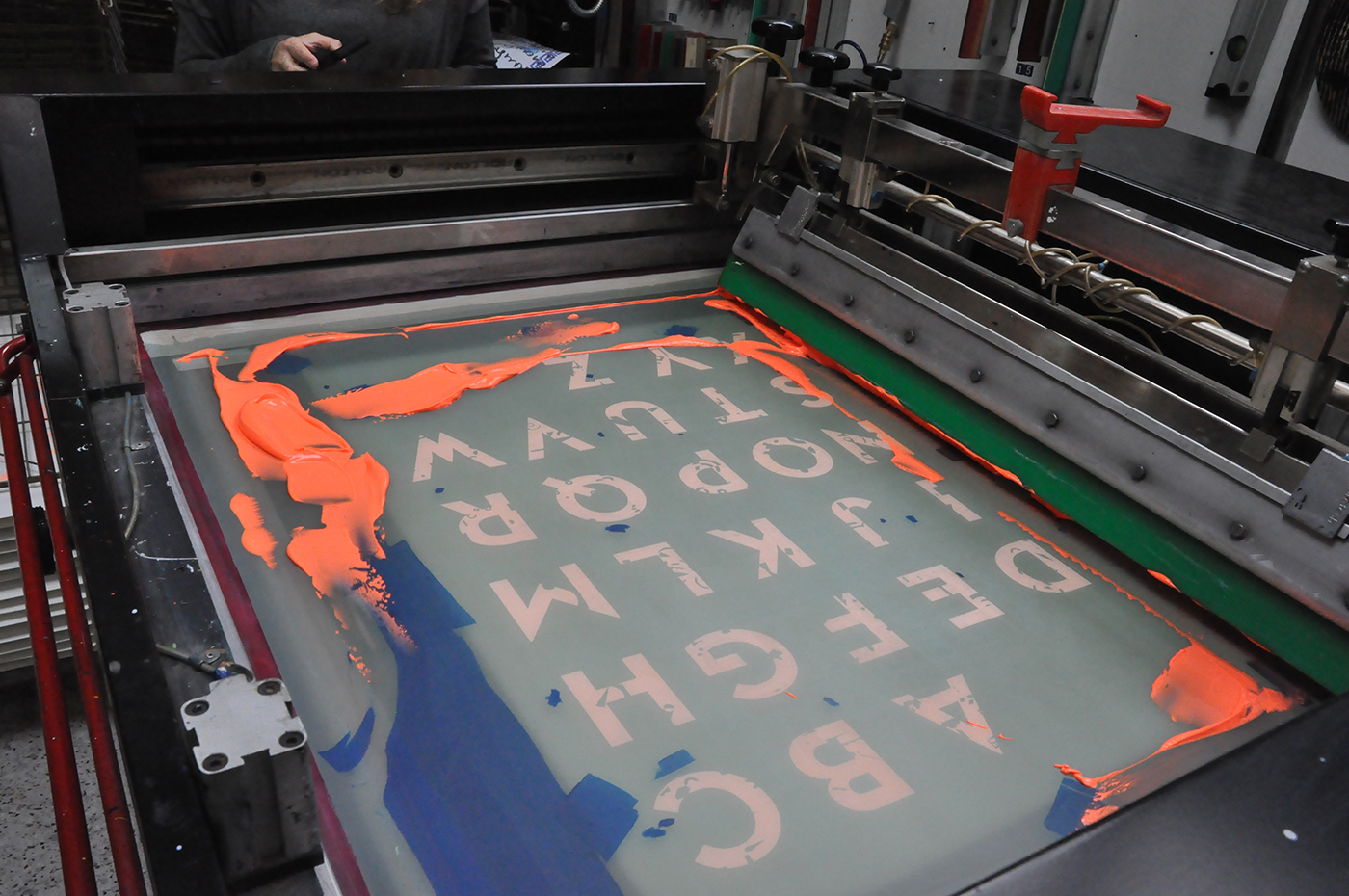 silkscreen print poster letters typography   lines ILLUSTRATION  Character alphabet gradient