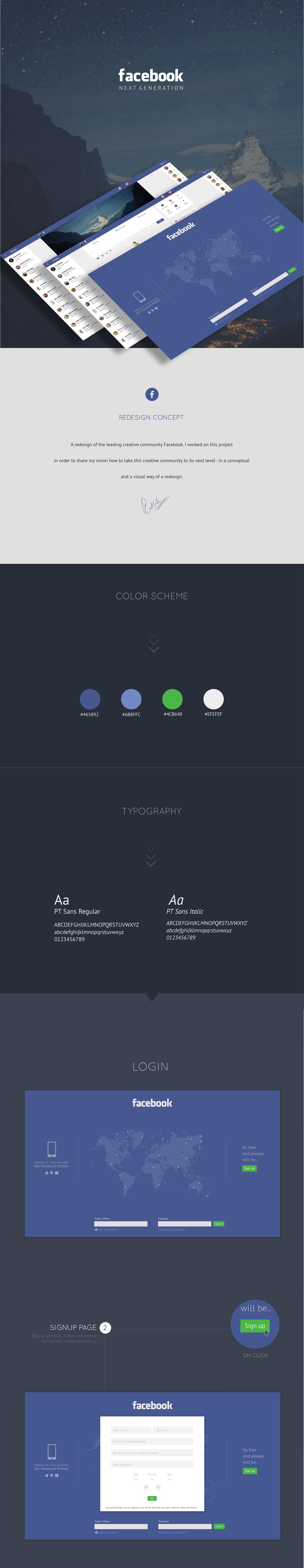 Facebook Next Generation Facebook UI Facebook Redesign user interface user experience redesign concept fresh new look interaction UI ux Web graphic social media Responsive