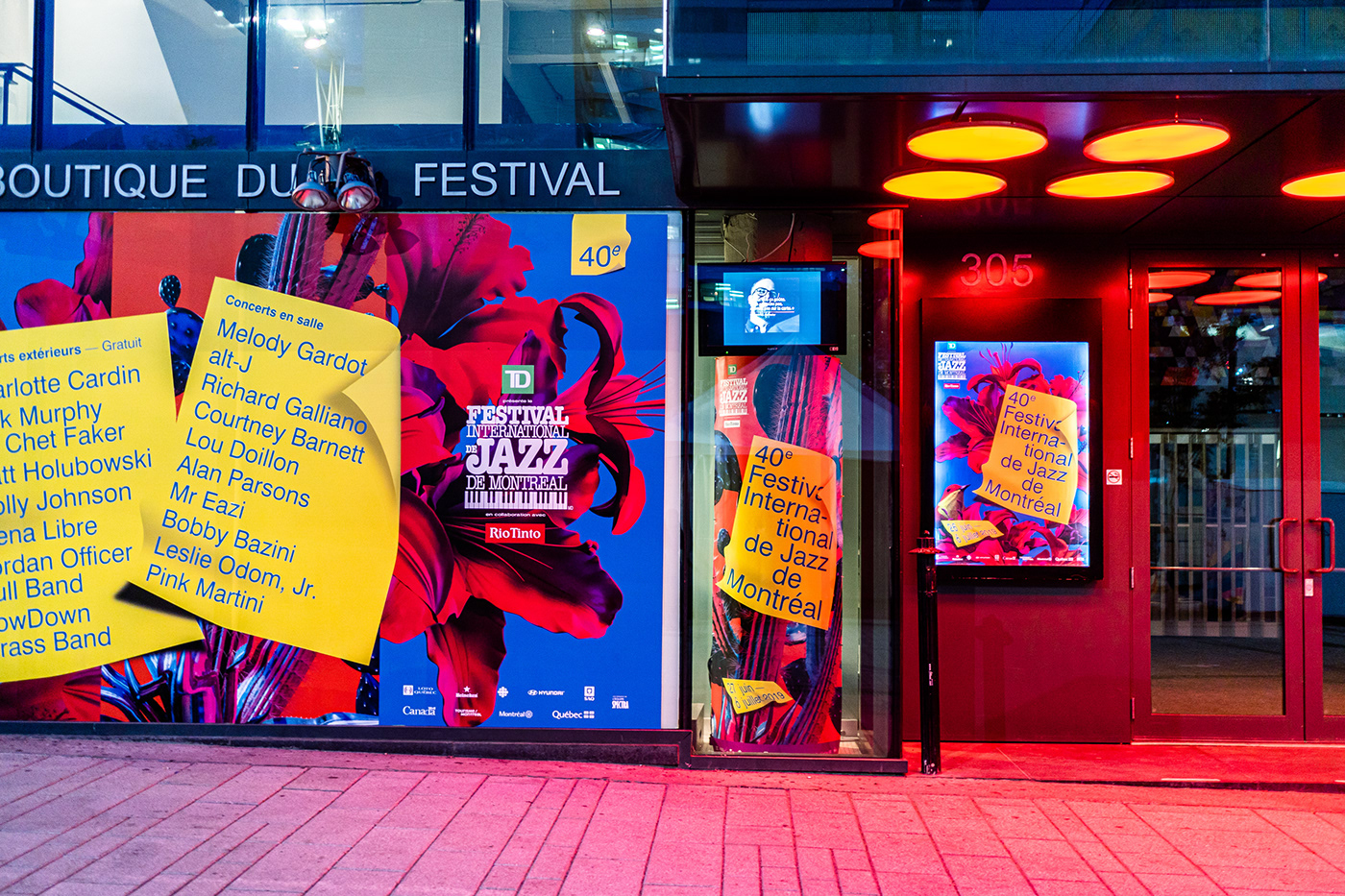 Flowers cactus red blue yellow poster festival jazz 3D music