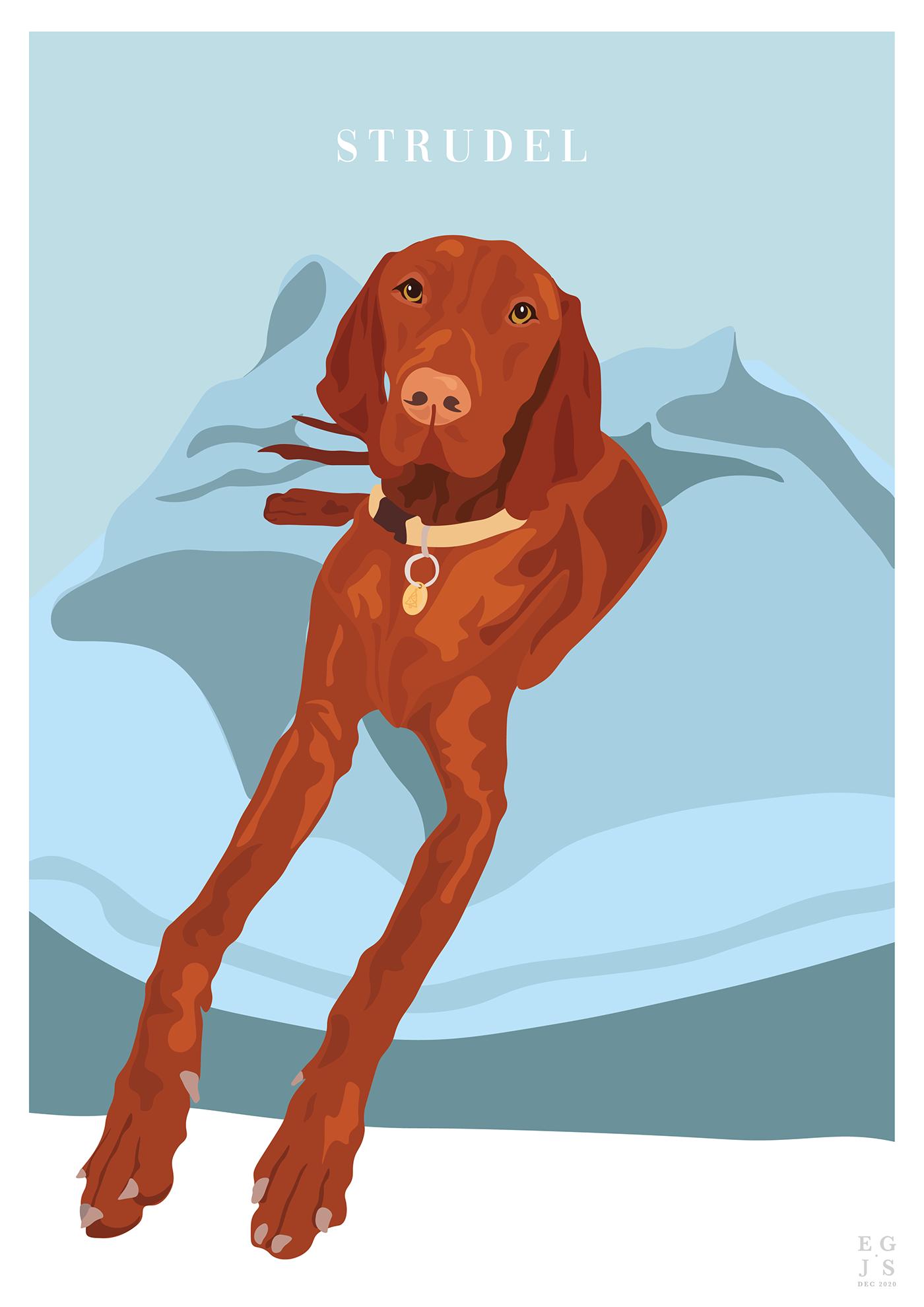 Create design dog dog illustrations Illustrator vector design Vector Illustration