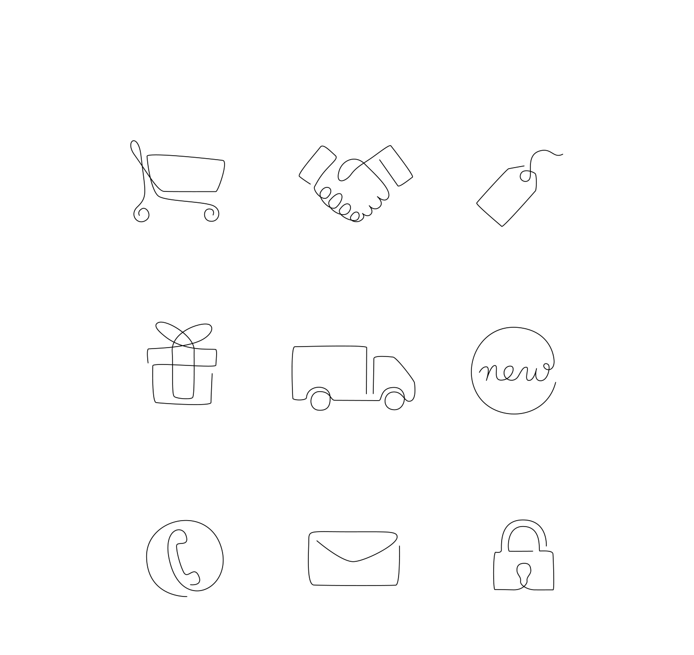 one line logo vector continuous line minimalist icons oneline line art linear icon set Linear Icons