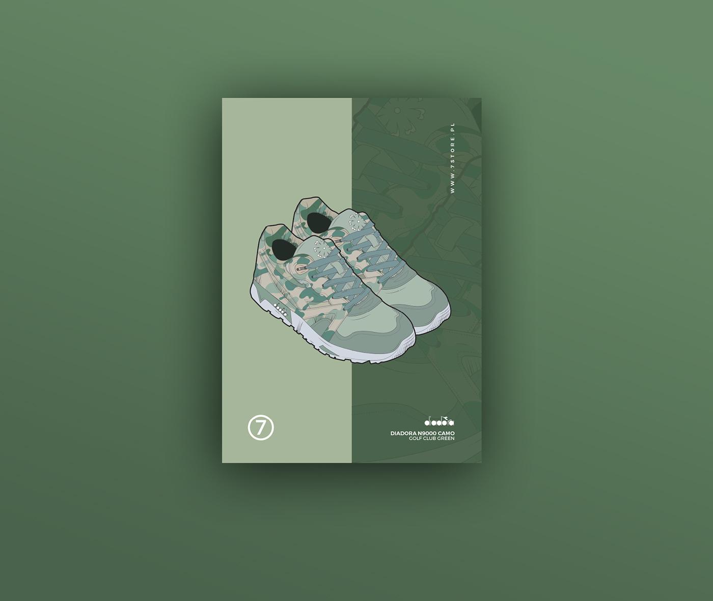 Poster Design flyer poster Shoes Poster sneakers adidas New Balance Diadora Vans