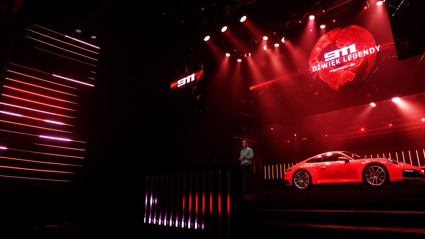 Porsche Porsche 911 premiere poland 3D visual scenography  laser