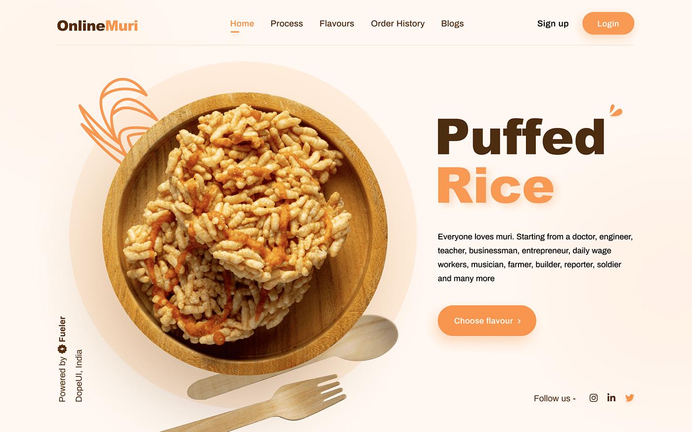 branding  Clean UI design Minimalism puffed rice ui designs UI/UX UX Designs web designs Website Design