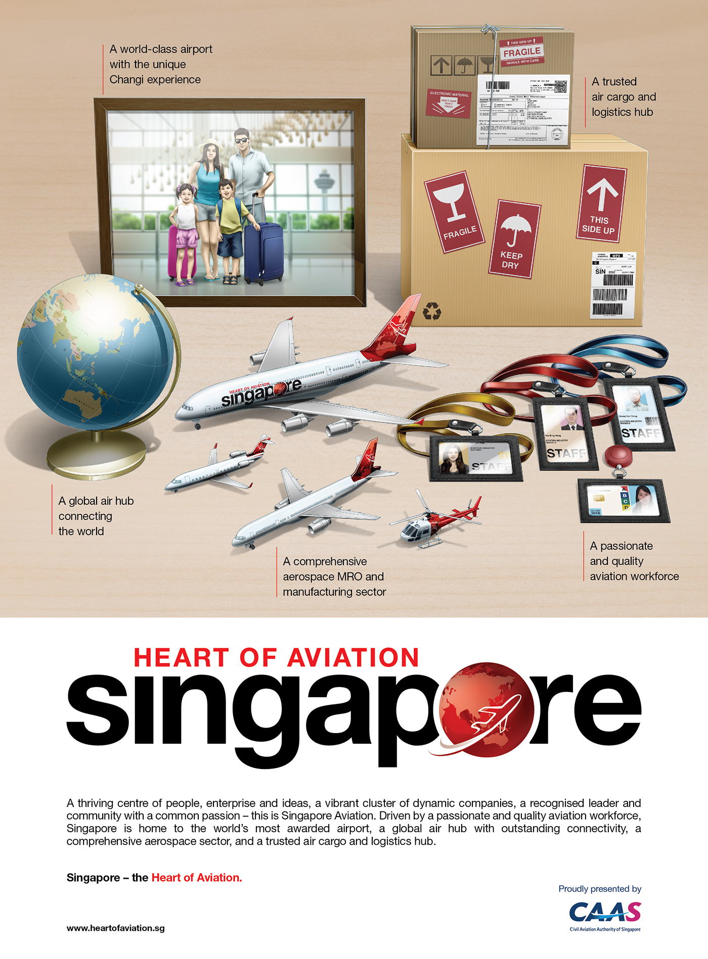 ILLUSTRATION  CAAS aviation poster ad logistic airport changi airport